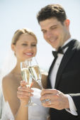Couple Toasting Champagne Flutes Outdoors — Stock Photo
