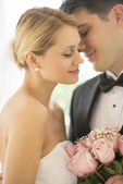 Affectionate Groom About To Kiss Bride — Stock Photo