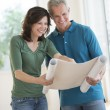 Woman Showing Blueprint To Husband In New House — Stock Photo #30514445