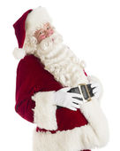 Happy Santa Claus With Hands On Stomach — Stock Photo