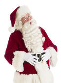 Portrait Of Happy Santa Claus With Hands On Stomach — Stock Photo