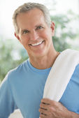 Portrait Of Happy Man With Towel On Shoulder — Stock Photo