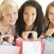 Happy Teenage Girls With Shopping Bags — Stockfoto