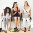 Teenage Girls Trying On New Shoes At Home — Stock Photo #31425389