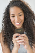 Girl Reading Text Message On Smart Phone — Stock Photo