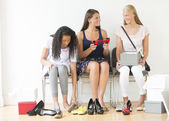 Teenage Girls Trying On New Shoes At Home — Stock Photo
