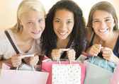 Happy Teenage Girls With Shopping Bags — Stock Photo
