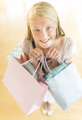 Beautiful Teenage Girl Carrying Shopping Bags — Stock Photo