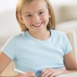 Happy Girl Drawing At Table — Stock Photo