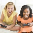 Friends Playing Video Games At Home — Stock Photo