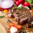 Cooked Beef Steak with Vegetables and Spices — Stock Photo #28911077
