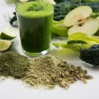 Fresh Juice Smoothie Made with Organic Greens and Limes — Stock Photo