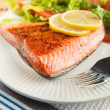 Grilled Salmon Fillet Served with Tomato and Romaine Salad — Stock Photo
