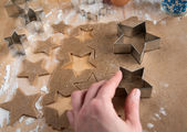 Ginger Cookies Dough With Ingredients and Star Cutters — Stock Photo