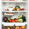Refrigerator Full of Fresh Fruits, Vegetables, and Healthy Meat Options — Stock Photo