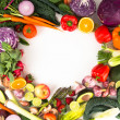 Assortment of Fresh Vegetables and Fruits Making Heart Shape Frame  — Stock Photo