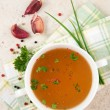 Bone Broth in Small Soup Bowl Served with Fresh Herbs, Garlic and Spices — Stok fotoğraf