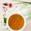 Bone Broth in Small Soup Bowl Served with Fresh Herbs, Garlic and Spices — Foto de Stock