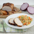 Cooked Pork Loin Roast with Served With Rice and Vegetables — Stock Photo