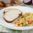 Cooked Pork Loin Roast with Served With Rice and Vegetables — ストック写真