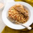 Stock Photo: Chicken Drumstick and Fried Rice Simple Paleo Dinner or Lunch