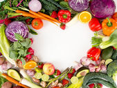 Assortment of Fresh Vegetables and Fruits Making Heart Shape — Stock Photo