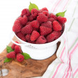 Cartons with Delicious Organic Fresh Raspberries from Local Farm — Stock Photo