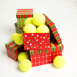 Pile of Tennis Balls as Present for Christmas — Stock Photo #29041781
