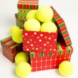 Pile of Tennis Balls as Present for Christmas — Stock Photo