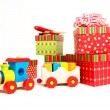 Little Wooden Train as Christmas Present — Stockfoto