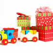 Little Wooden Train as Christmas Present — Stock Photo