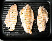 Closeup of Rock Fish Grilled on Griddle with Some Herbs and Spices — Stock Photo