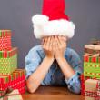 Joyful Young Boy with Tower of Christmas — Stock Photo