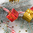 Tiny Present Ornaments on a Christmas Tree — Stock Photo