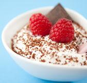 Yogurt with Chocolate Flakes and Fresh Raspberries — Foto de Stock