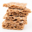 Pile of Whole Grain Healthy Crackers Isolated on White Background — Stock Photo