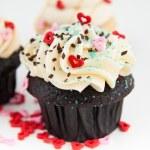 Valentine's Day Chocolate Cupcake with Tiny Hearts — Stock Photo #29075355