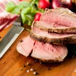 Medium Rare Cooked Beef Roast with Vegetables and Spices — Stock Photo