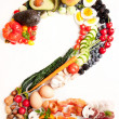 Healthy Vegetables, Meats, Fruit and Fish Shaped in Number Two 2 — Stock Photo