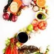 Healthy Vegetables, Meats, Fruit and Fish Shaped in Number Two 2 — Stock Photo #29073501