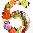 Healthy Food of Fresh Vegetables, Eggs, Salami, Berries and Smoked Salmon Shaped in Number 6 Six — Stock Photo