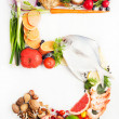 Stock Photo: Healthy Vegetables, Meats, Fruit and Fish Shaped in Number Five 5.