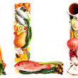 Stock Photo: Word Paleo shaped out of Various Healthy Fresh Meats, Fish, Vegetables, Fruit, Tea, and Some Chocolate