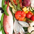 Healthy Food Assortment with Fish, Eggs, Vegetables, Fruit and Cured Meats for Healthy Diet full of Antioxidants and Vitamins — Stock Photo