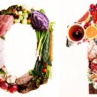 Assortment of Fresh Vegetables and Meats Arranged in 2013 — Stockfoto