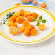 Kumquat Oranges on White Plate for Dessert — Stock Photo