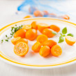 Kumquat Oranges on White Plate for Dessert — Stok fotoğraf