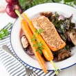 Wild Alaskan Salmon Grilled with Mustard — Stock Photo