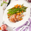 Grilled Pork Chops with Asparagus and Kumquat Oranges — Zdjęcie stockowe