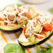 Avocado Halves Filled with Tomatoes, Beef and Toasted Almonds — Stock Photo #29074931